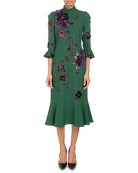 Andrew Gn - Mock-neck 3/4-sleeve Crepe Dress With Scattered Floral-embroidery - Lyst