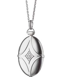 Monica Rich Kosann - Silver & White Sapphire Petite Bridal Locket Necklace - Lyst