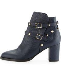 Valentino Rockstud Leather 70mm Ankle Bootie - Black