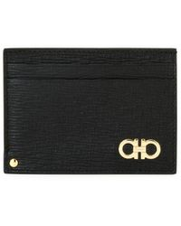 Ferragamo Men's Revival Gancini Leather Card Case With Flip-out Id Window - Black