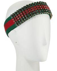 Gucci - Crystal Embellished Web Headband - Lyst