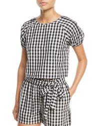 Joie - Cirila Short-sleeve Gingham-print Cotton Top - Lyst