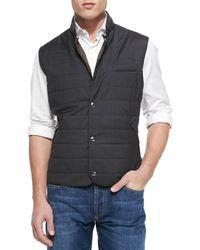 Brunello Cucinelli Wool/silk Snap Fitted Vest - Multicolour