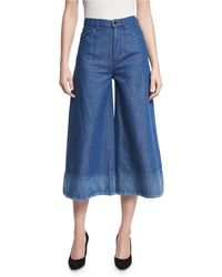 Co. - Denim Wide-leg Cropped Pants - Lyst