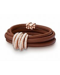 De Grisogono Allegra 18k Rose Gold & Leather Bracelet W/ Diamonds - Brown