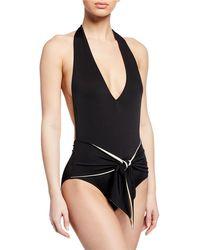 3e938ca1c92 Lyst - Stella McCartney 90s Scoop-neck Cutout One-piece Swimsuit in ...