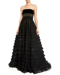 J. Mendel Strapless Studded Tiered Tulle Gown - Black