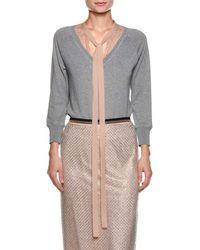 N°21 - Sweater With Contrast Necktie - Lyst