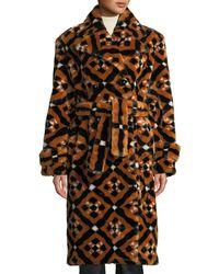 Mary Katrantzou - Stokes Double-breasted Tie-waist Tile-print Faux-fur Midi Coat - Lyst