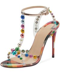 2b24ce6782df Christian Louboutin - Faridaravie 100 Embellished Pvc And Mirrored-leather  Sandals - Lyst