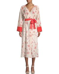 Borgo De Nor - Long-sleeve Firefly Leaf Wrap Dress - Lyst