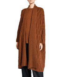 Eskandar Cashmere Lattice-knit Shawl-collar Cardigan Coat - Black