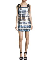 Veronica Beard - Abril Striped Sequin Cocktail Dress W/ Ribbon Ties - Lyst