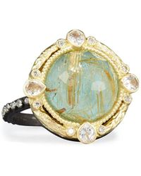 Armenta - Old World Midnight Turquoise & Quartz Doublet Ring With Diamonds - Lyst