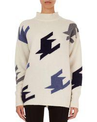Victoria Beckham - Oversized Geometric Knit Cashmere Mock-neck Sweater - Lyst