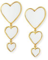 Edie Parker 14k Triple Heart Earrings - White