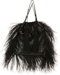 Attico - Velvet And Feathers Pouch Bag - Lyst