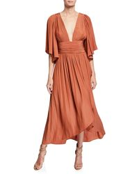 Ramy Brook - Kinslie Shirred Plunging High-low Long Dress - Lyst