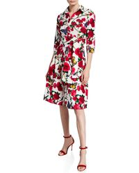 Samantha Sung Aubrey Rose & Butterfly Printed 3/4-sleeve Belted Shirtdress - Red