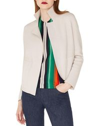 Akris - Open-front Placed-stripe Double-face Cashmere-knit Cardigan - Lyst