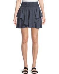 Halston - Smocked-waist Dot-print Mini Skirt - Lyst