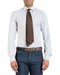 Isaia Men's Two-tone Check Dress Shirt - Blue