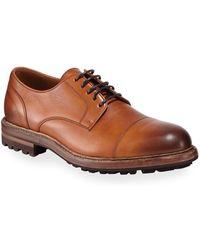 Brunello Cucinelli Men's Leather Lug-sole Derby Shoes - Brown
