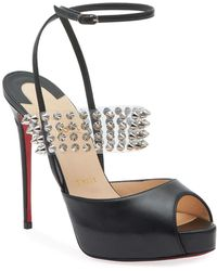 7d251b0c8bc Christian Louboutin Cataclou Studded Red Sole Wedge Sandal in Black ...