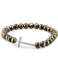 Sydney Evan - Faceted Champagne Pyrite Bead Bracelet With Diamond Cross Station - Lyst