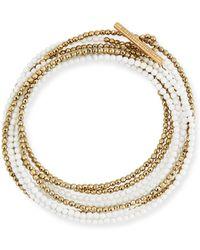 Brunello Cucinelli - Hematite & Quartz Beaded Coil Bracelet - Lyst
