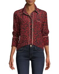 N°21 Leopard-print Silk Button-front Blouse - Red