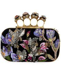 Alexander McQueen Jewelled Butterfly Box Clutch Bag - Black