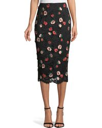 Lela Rose - Rose-embroidered Lace Pencil Midi Skirt - Lyst