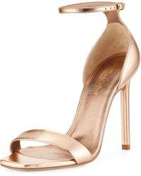 Saint Laurent - Amber Metallic D'orsay Sandal - Lyst