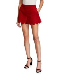 RED Valentino Pressed Boucle Scalloped Hem Shorts - Red