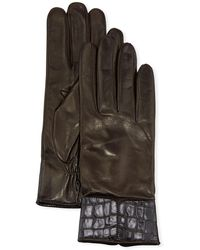 Portolano Cashmere-lined Napa Leather Gloves W/ Croc Embossed Cuffs - Brown