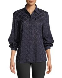 Lafayette 148 New York - Cardee Button-front Long-sleeve Vertex Fil Coupe Blouse - Lyst