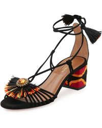 Aquazzura - Samba Suede Block-heel Sandal - Lyst