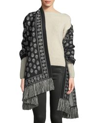 Alexander McQueen Extra Large Skull Scarf W/ Fringe Trim - Gray