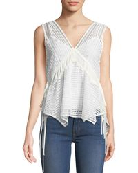10 Crosby Derek Lam - Sleeveless V-neck Lace-guipure Top W/ Ties - Lyst
