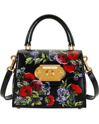 fb8fd6bd00 Dolce   Gabbana - Welcome Small Floral-print Lizard-effect Leather Tote -  Lyst