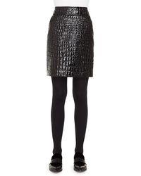 Akris Punto - Crocodile Embossed Leather Skirt - Lyst