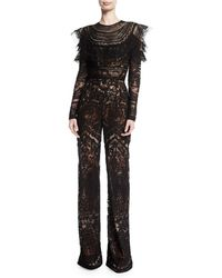 Naeem Khan - Long-sleeve Lace-embroidered Jumpsuit - Lyst