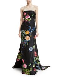 Monique Lhuillier - Strapless Floral-print Draped Evening Gown With Train - Lyst