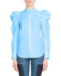 Chloé - Puff-sleeve Button-front Cotton Top - Lyst