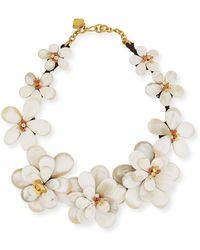 Ashley Pittman - Light Horn Flower Collar Necklace With Stones - Lyst