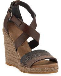 Brunello Cucinelli - Leather Wedge Espadrille Sandals - Lyst
