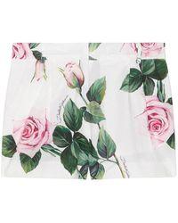 Dolce & Gabbana Girl's Rose Print Shorts - Green