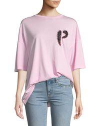 Pinko - Oversized Embellished Logo Crewneck Tee - Lyst