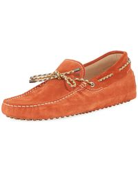 Tod's | Gommini Suede Driver With Braided Tie | Lyst